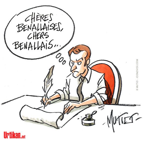 Lettre aux Français : La communication politique d'Emmanuel Macron - Dessin de Mutio