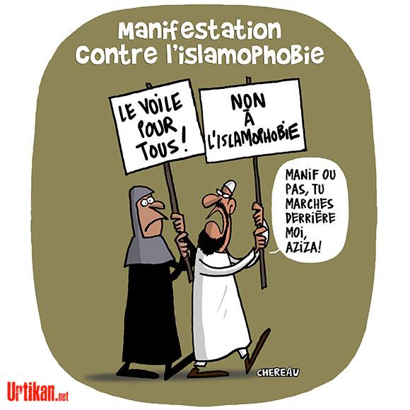 Manifestation contre l'islamophobie : une marche polémique - Dessin de Chereau