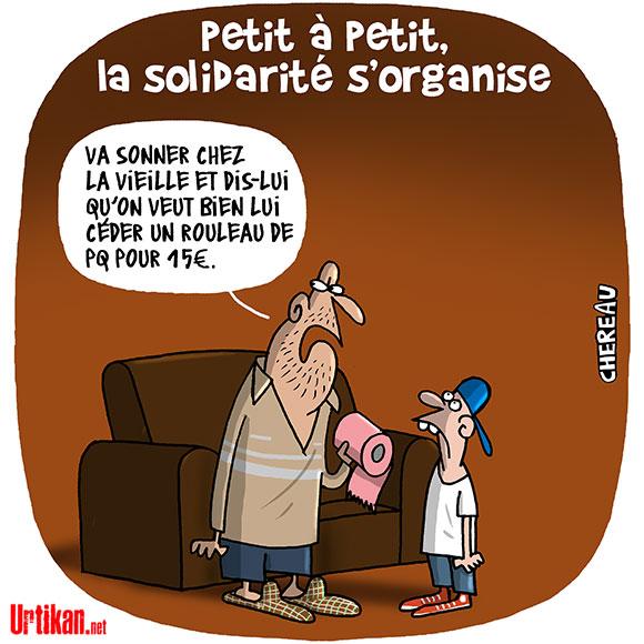 Coronavirus : la solidarité des Français- dessin de Chereau