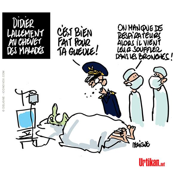 Les patients en réanimation n'ont «pas respecté le confinement» selon le préfet Lallement  - Dessin de Deligne
