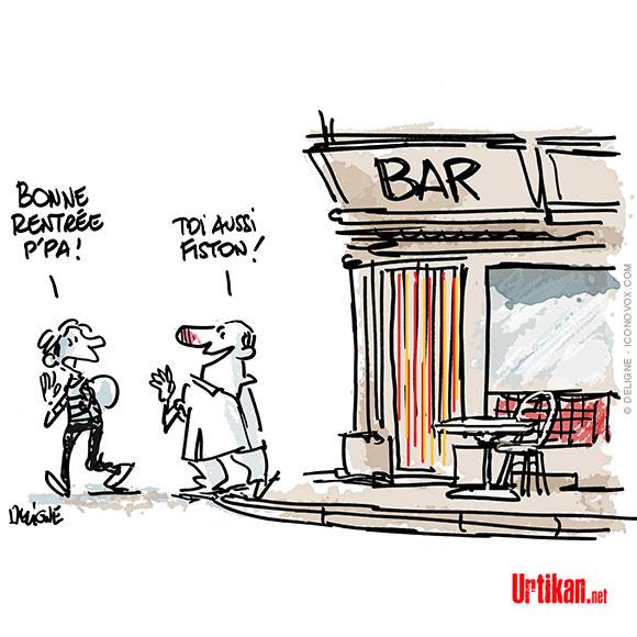 réouverture totale des bars et des écoles - dessin de Deligne