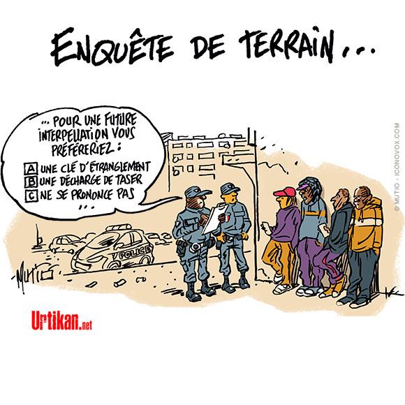 Le difficile dialogue sur les contrôles policiers - Dessin de Mutio