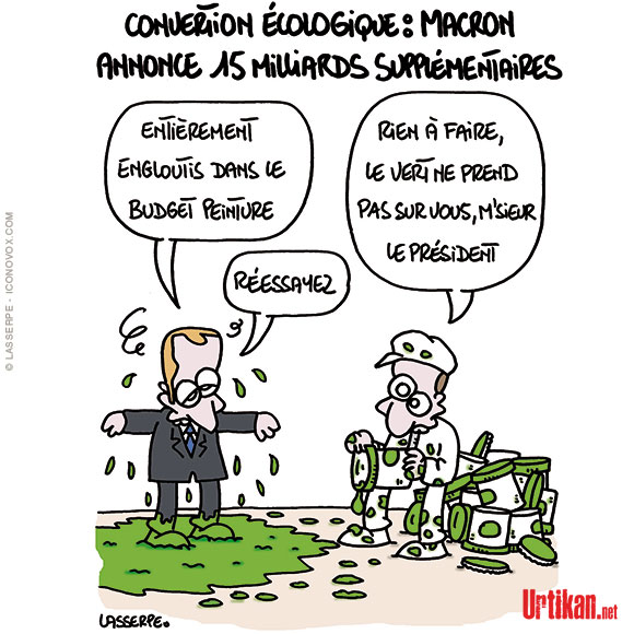 Macron ne veut pas laisser aux écolos le monopole du vert - Dessin de Lasserpe