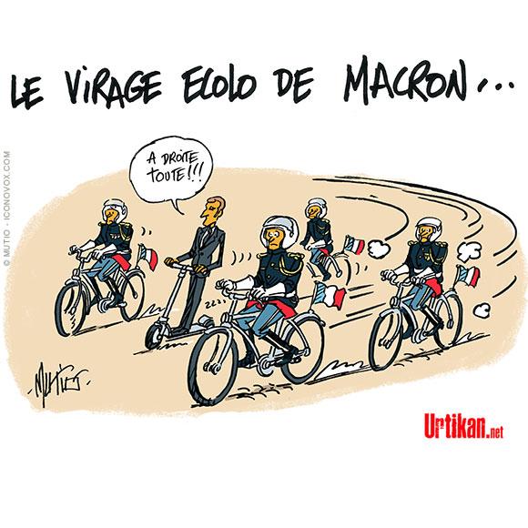 Emmanuel Macron promet une « écologie du mieux » Dessin de Mutio