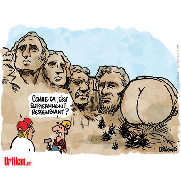 Donald Trump aimerait bien voir son visage sur le Mont Rushmore - Dessin de Deligne