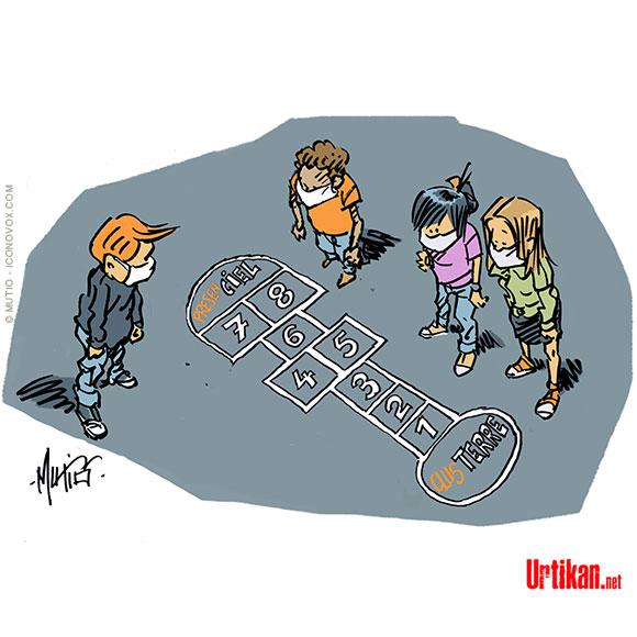 Covid à l'école : nouveau protocole ! - Dessin de mutio