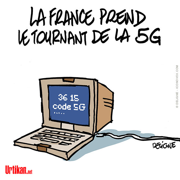 5G : la France est en retard sur ses voisins - Dessin de Deligne