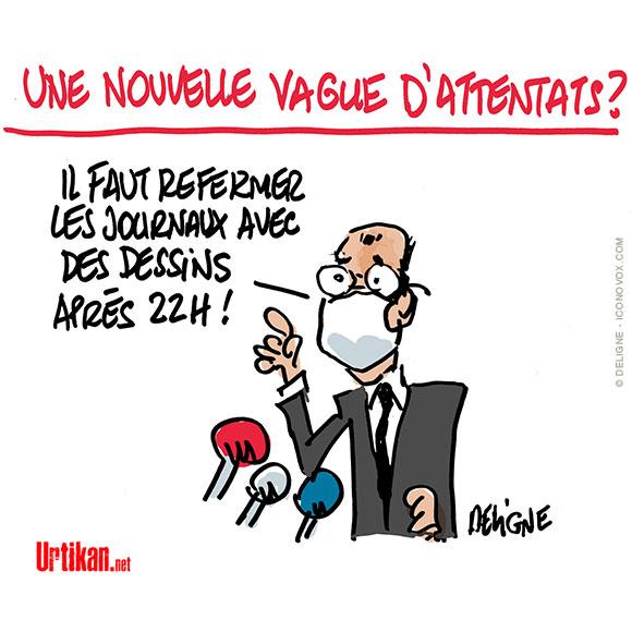 Attaque à Paris – Castex réaffirme sa volonté de « lutter contre le terrorisme » Dessin de Deligne