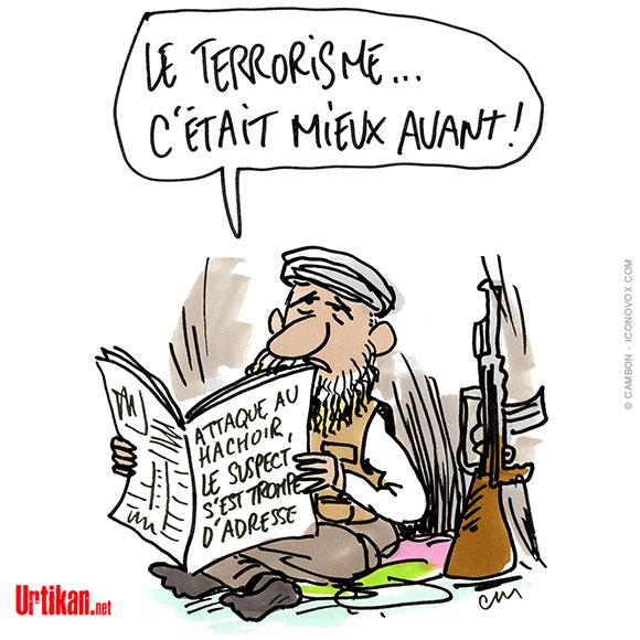 Attaque à l'arme blanche à Paris : le suspect pensait bien s'attaquer au siège de « Charlie Hebdo » - Dessin de Cambon