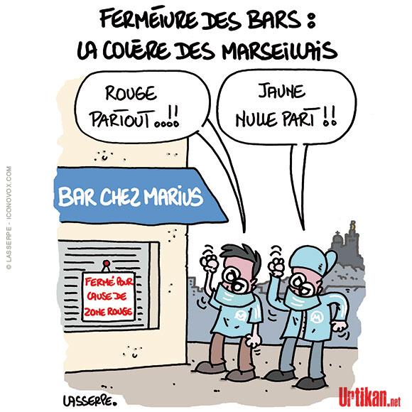 Coronavirus à Marseille : Le tribunal administratif rejette le recours contre la fermeture des bars et des restaurants - Dessin de Lasserpe