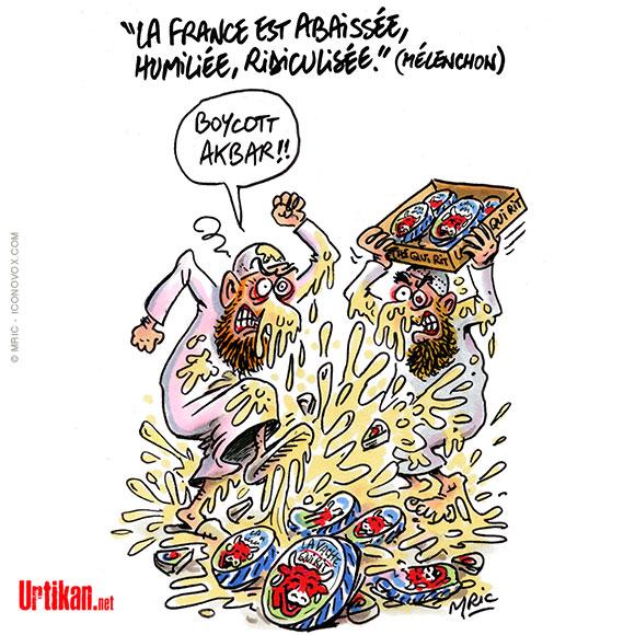 Jean-Luc Mélenchon ne soutien pas Macron face à Erdogan -Dessin de Mric