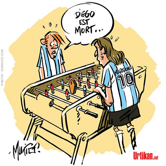 Mort de Diego Maradona : un enterrement agité - Dessin de Mutio