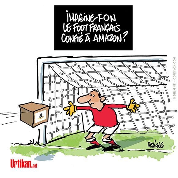 Droits TV de la Ligue 1 : Amazon va-t-il sauver le football français ? - Dessin de Deligne