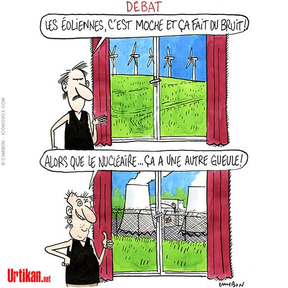 Le débat sur les éoliennes s'invite dans la campagne des élections régionales - Dessin de Cambon