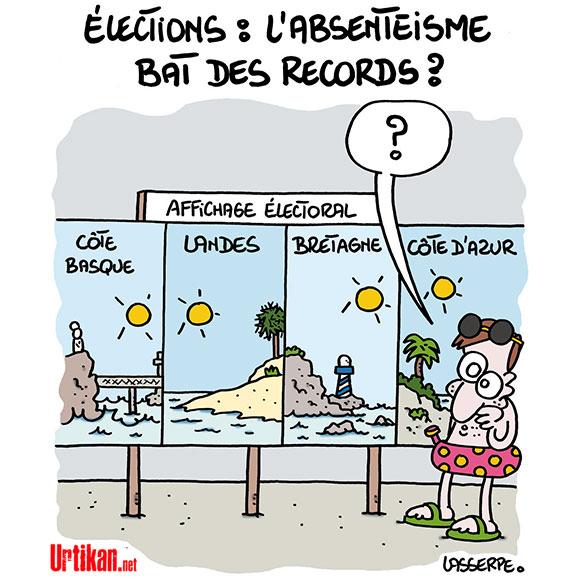 L'abstention grande gagnante des élections - Dessin de Lasserpe