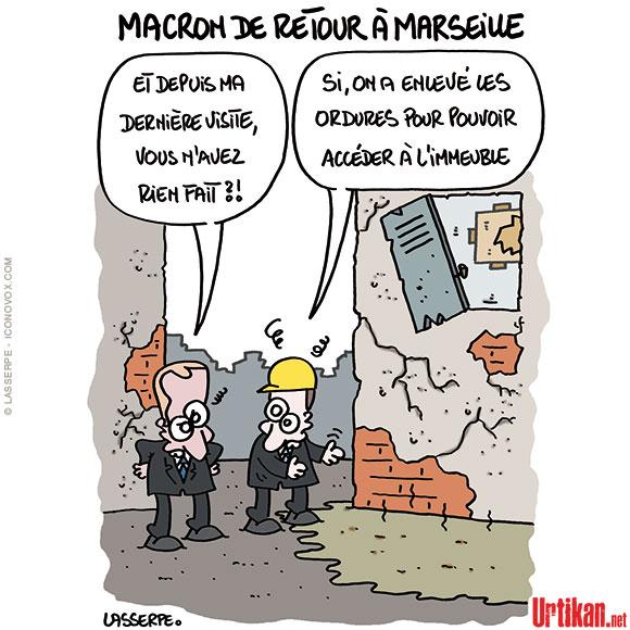 Visite éclair de Macron à Marseille - Dessin de Lasserpe